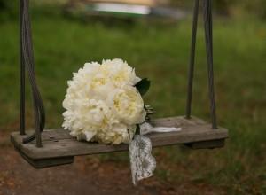 Simple white peony bouquet.